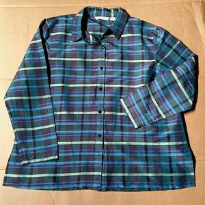 French Laundry Silk Blue Plaid Blouse. L